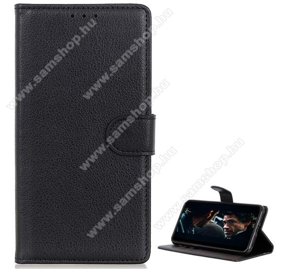 SAMSUNG Galaxy A51 (SM-A515F)WALLET notesz tok / flip tok - FEKETE - asztali tartó funkciós, oldalra nyíló, rejtett mágneses záródás, bankkártyatartó zseb, prémium, szilikon belső - SAMSUNG Galaxy A51 (SM-A515F)