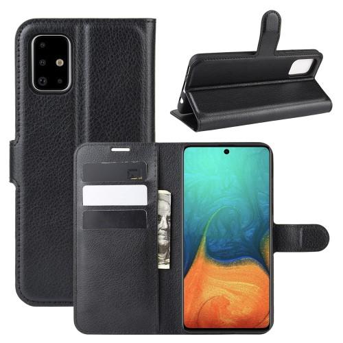 WALLET notesz tok / flip tok - FEKETE - asztali tartó funkciós, oldalra nyíló, rejtett mágneses záródás, bankkártyatartó zseb, szilikon belső - SAMSUNG Galaxy A71 (SM-A715F)