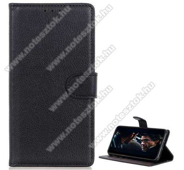 WALLET notesz tok / flip tok - FEKETE - asztali tartó funkciós, oldalra nyíló, rejtett mágneses záródás, bankkártyatartó zseb, prémium, szilikon belső - SAMSUNG Galaxy A21 (SM-A210F)