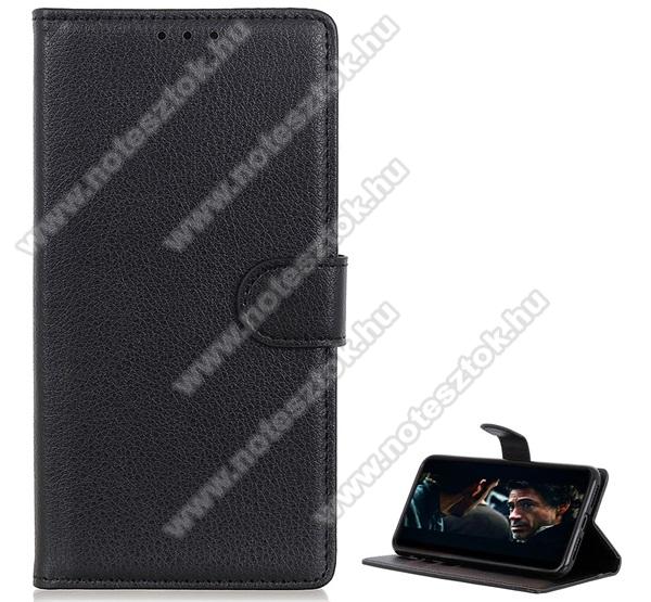 WALLET notesz tok / flip tok - FEKETE - asztali tartó funkciós, oldalra nyíló, rejtett mágneses záródás, bankkártyatartó zseb, prémium, szilikon belső - SAMSUNG Galaxy Note10 Lite (SM-N770F)