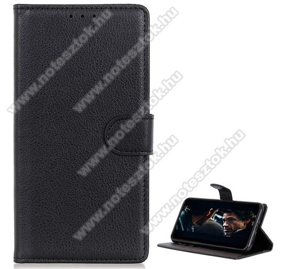 WALLET notesz tok / flip tok - FEKETE - asztali tartó funkciós, oldalra nyíló, rejtett mágneses záródás, bankkártyatartó zseb, prémium, szilikon belső - ASUS ROG Phone II (ZS660KL)