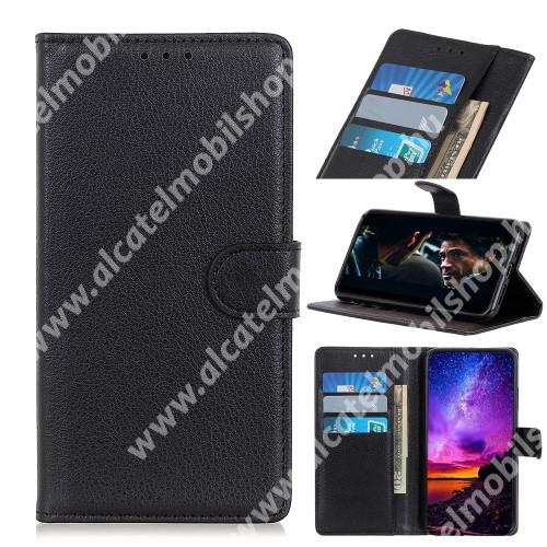 WALLET notesz tok / flip tok - FEKETE - asztali tartó funkciós, oldalra nyíló, rejtett mágneses záródás, bankkártyatartó zseb, szilikon belső - SAMSUNG Galaxy Xcover Pro (SM-G715F)