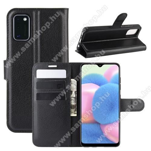 SAMSUNG Galaxy A41 (SM-A415F)WALLET notesz tok / flip tok - FEKETE - asztali tartó funkciós, oldalra nyíló, rejtett mágneses záródás, bankkártyatartó zseb, szilikon belső - SAMSUNG Galaxy A41 (SM-A415F)