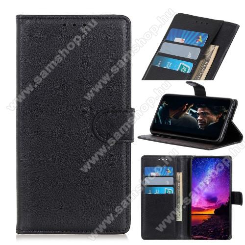 SAMSUNG Galaxy A31 (SM-A315F)WALLET notesz tok / flip tok - FEKETE - asztali tartó funkciós, oldalra nyíló, rejtett mágneses záródás, bankkártyatartó zseb, szilikon belső - SAMSUNG Galaxy A31 (SM-A315F)