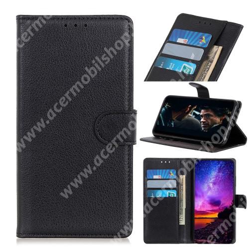 WALLET notesz tok / flip tok - FEKETE - asztali tartó funkciós, oldalra nyíló, rejtett mágneses záródás, bankkártyatartó zseb, szilikon belső - Xiaomi Mi 10 5G / Xiaomi Mi 10 Pro 5G