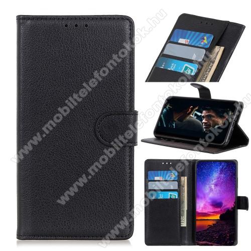 WALLET notesz tok / flip tok - FEKETE - asztali tartó funkciós, oldalra nyíló, rejtett mágneses záródás, bankkártyatartó zseb, szilikon belső - LG K61 / LG Q61