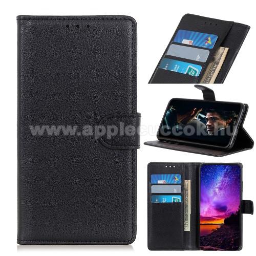 WALLET notesz tok / flip tok - FEKETE - asztali tartó funkciós, oldalra nyíló, rejtett mágneses záródás, bankkártyatartó zseb, szilikon belső - SAMSUNG Galaxy A21s (SM-A217F/DS)