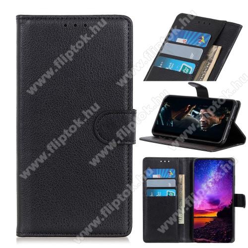 WALLET notesz tok / flip tok - FEKETE - asztali tartó funkciós, oldalra nyíló, rejtett mágneses záródás, bankkártyatartó zseb, szilikon belső - LG K41S