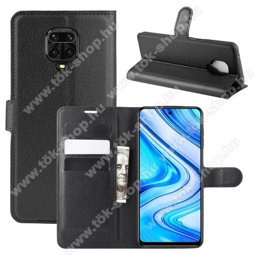 WALLET notesz tok / flip tok - FEKETE - asztali tartó funkciós, oldalra nyíló, rejtett mágneses záródás, bankkártyatartó zseb, szilikon belső - Xiaomi Redmi Note 9S / Redmi Note 9 Pro / Redmi Note 9 Pro Max / Poco M2 Pro