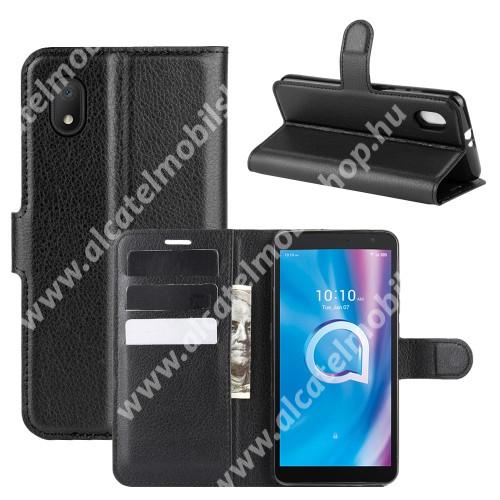 WALLET notesz tok / flip tok - FEKETE - asztali tartó funkciós, oldalra nyíló, rejtett mágneses záródás, bankkártyatartó zseb, szilikon belső - Alcatel 1B (2020)