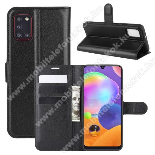 WALLET notesz tok / flip tok - FEKETE - asztali tartó funkciós, oldalra nyíló, rejtett mágneses záródás, bankkártyatartó zseb, szilikon belső - SAMSUNG Galaxy A31 (SM-A315F)