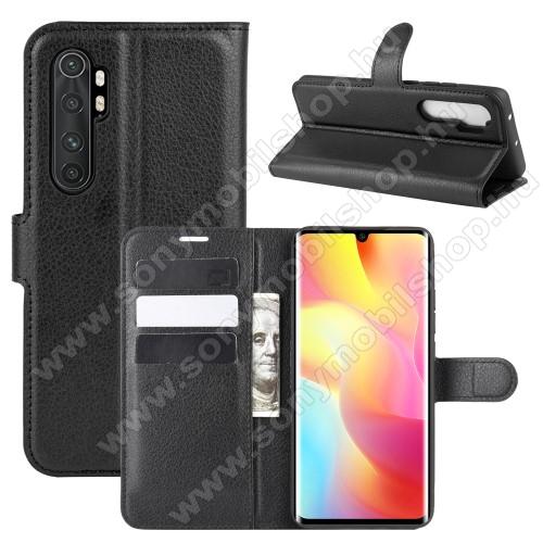 WALLET notesz tok / flip tok - FEKETE - asztali tartó funkciós, oldalra nyíló, rejtett mágneses záródás, bankkártyatartó zseb, szilikon belső - Xiaomi Mi Note 10 Lite