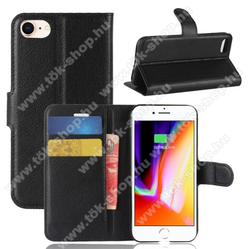 WALLET notesz tok / flip tok - FEKETE - asztali tartó funkciós, oldalra nyíló, rejtett mágneses záródás, bankkártyatartó zseb, szilikon belső - APPLE iPhone SE (2020) / APPLE iPhone 7 / APPLE iPhone 8