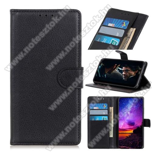 WALLET notesz tok / flip tok - FEKETE - asztali tartó funkciós, oldalra nyíló, rejtett mágneses záródás, bankkártyatartó zseb, szilikon belső - APPLE iPhone 12 Pro Max