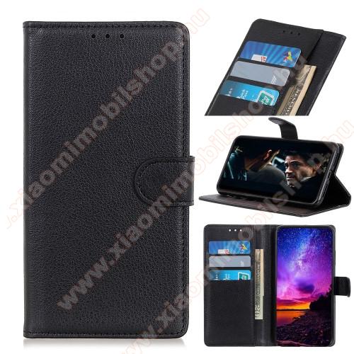 WALLET notesz tok / flip tok - FEKETE - asztali tartó funkciós, oldalra nyíló, rejtett mágneses záródás, bankkártyatartó zseb, prémium, szilikon belső - Xiaomi Redmi 9C / Redmi 9C NFC