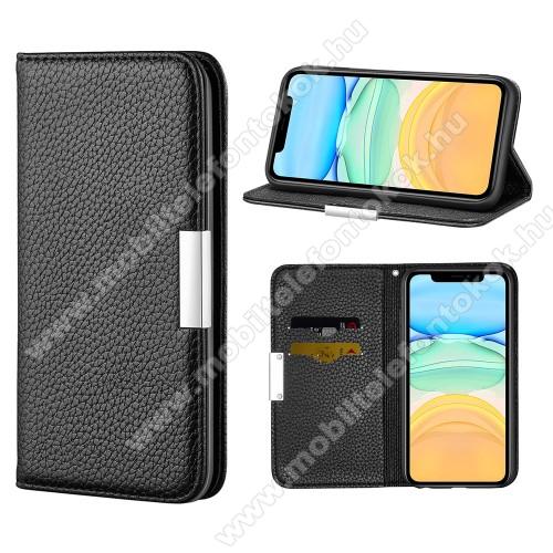 WALLET notesz tok / flip tok - FEKETE - asztali tartó funkciós, oldalra nyíló, rejtett mágneses záródás, bankkártyatartó zseb, szilikon belső - APPLE iPhone 12 mini