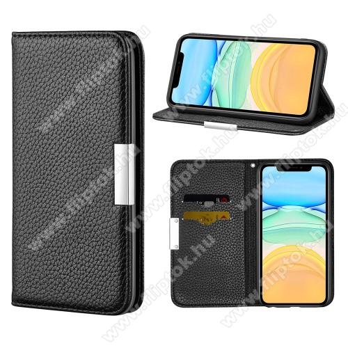 WALLET notesz tok / flip tok - FEKETE - asztali tartó funkciós, oldalra nyíló, rejtett mágneses záródás, bankkártyatartó zseb, szilikon belső - APPLE iPhone 12 / APPLE iPhone 12 Pro