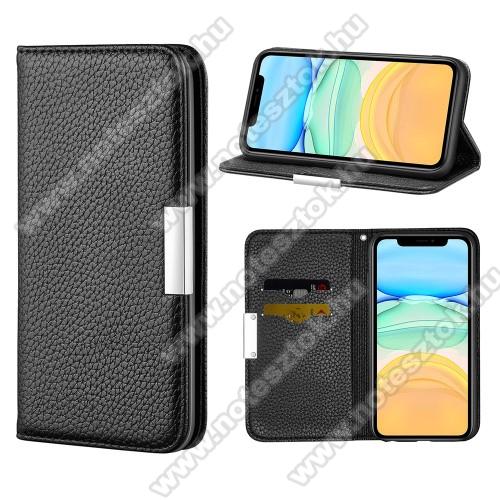 WALLET notesz tok / flip tok - FEKETE - asztali tartó funkciós, oldalra nyíló, elegáns fémcsat, rejtett mágneses záródás, bankkártyatartó zseb, szilikon belső - APPLE iPhone 12 / APPLE iPhone 12 Pro