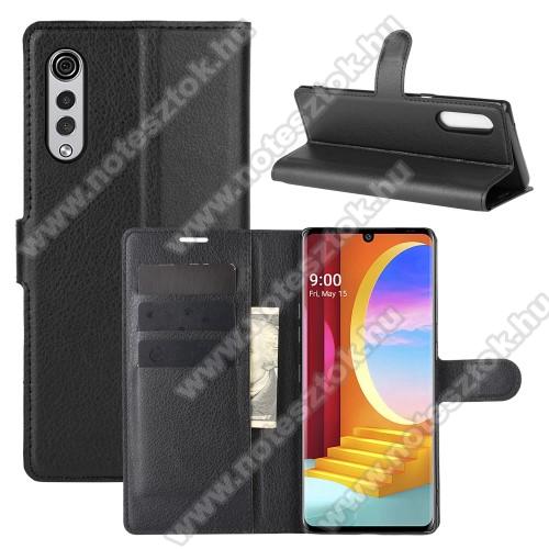 WALLET notesz tok / flip tok - FEKETE - asztali tartó funkciós, oldalra nyíló, rejtett mágneses záródás, bankkártyatartó zseb, prémium, szilikon belső - LG Velvet 4G (LMG910EMW / LM-G910EMW) / LG Velvet 5G (LM-G900N / LM-G900EM)