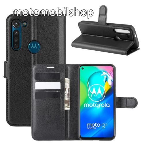 WALLET notesz tok / flip tok - FEKETE - asztali tartó funkciós, oldalra nyíló, rejtett mágneses záródás, bankkártyatartó zseb, szilikon belső - MOTOROLA Moto G8 Power