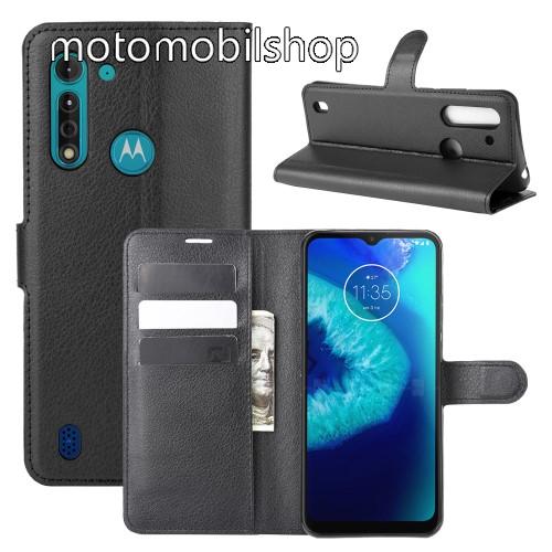 WALLET notesz tok / flip tok - FEKETE - asztali tartó funkciós, oldalra nyíló, rejtett mágneses záródás, bankkártyatartó zseb, szilikon belső - MOTOROLA Moto G8 Power Lite