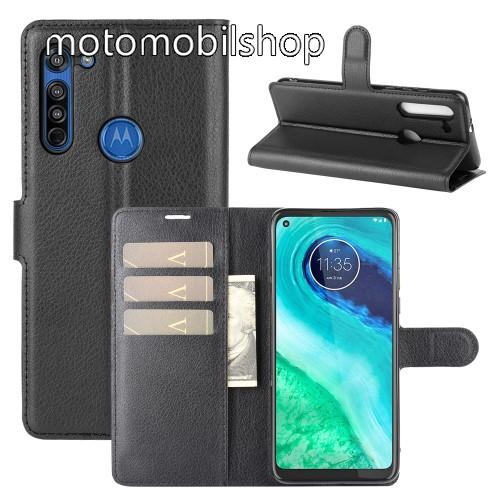 WALLET notesz tok / flip tok - FEKETE - asztali tartó funkciós, oldalra nyíló, rejtett mágneses záródás, bankkártyatartó zseb, szilikon belső - MOTOROLA Moto G8