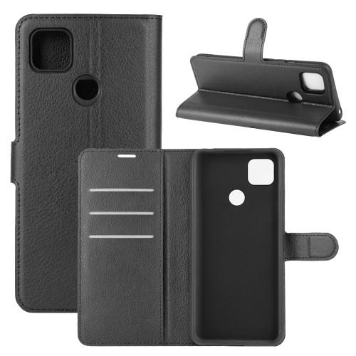 WALLET notesz tok / flip tok - FEKETE - asztali tartó funkciós, oldalra nyíló, rejtett mágneses záródás, bankkártyatartó zseb, szilikon belső - Xiaomi Redmi 9C / Redmi 9C NFC