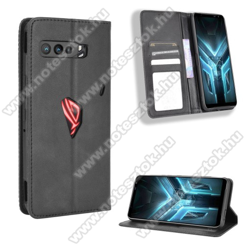 WALLET notesz tok / flip tok - FEKETE - asztali tartó funkciós, oldalra nyíló, rejtett mágneses záródás, bankkártyatartó zseb, szilikon belső - ASUS ROG Phone 3 (ZS661KS) / ASUS ROG Phone 3 Strix