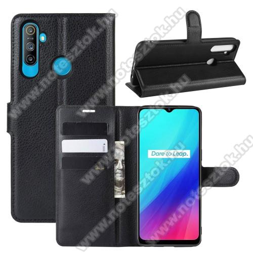 WALLET notesz tok / flip tok - FEKETE - asztali tartó funkciós, oldalra nyíló, rejtett mágneses záródás, bankkártyatartó zseb, szilikon belső - Realme C3 (3 cameras) / Realme 5