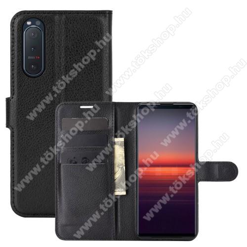 WALLET notesz tok / flip tok - FEKETE - asztali tartó funkciós, oldalra nyíló, rejtett mágneses záródás, bankkártyatartó zseb, szilikon belső - SONY Xperia 5 II (2020)