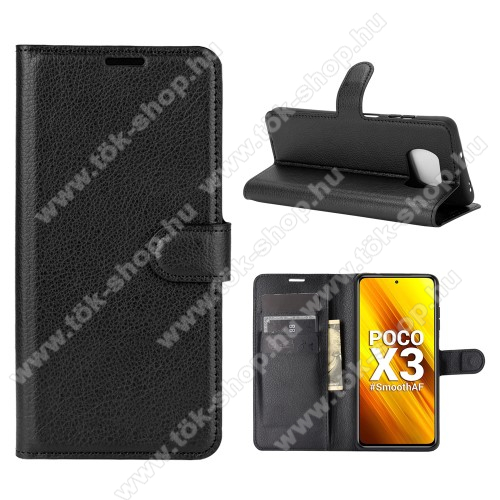 WALLET notesz tok / flip tok - FEKETE - asztali tartó funkciós, oldalra nyíló, rejtett mágneses záródás, bankkártyatartó zseb, szilikon belső - Xiaomi Poco X3 / Poco X3 NFC
