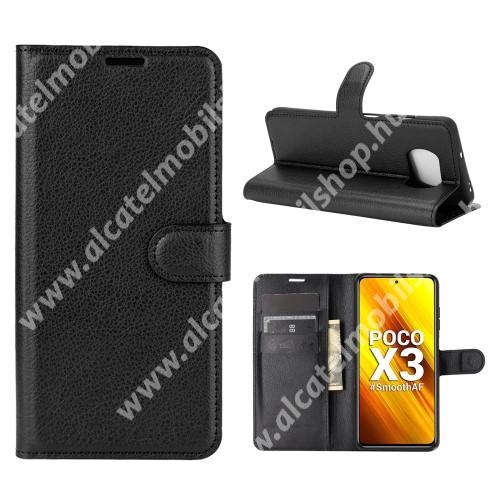 WALLET notesz tok / flip tok - FEKETE - asztali tartó funkciós, oldalra nyíló, rejtett mágneses záródás, bankkártyatartó zseb, szilikon belső - Xiaomi Poco X3 / Poco X3 NFC / Poco X3 Pro