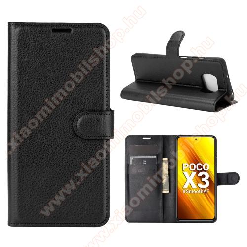 Xiaomi Poco X3 ProWALLET notesz tok / flip tok - FEKETE - asztali tartó funkciós, oldalra nyíló, rejtett mágneses záródás, bankkártyatartó zseb, szilikon belső - Xiaomi Poco X3 / Poco X3 NFC / Poco X3 Pro