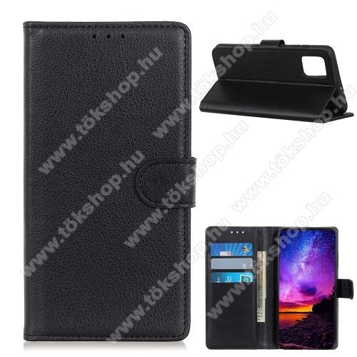 WALLET notesz tok / flip tok - FEKETE - asztali tartó funkciós, oldalra nyíló, rejtett mágneses záródás, bankkártyatartó zseb, szilikon belső - Xiaomi Mi 10T 5G / Mi 10T Pro 5G / Redmi K30S