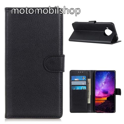 WALLET notesz tok / flip tok - FEKETE - asztali tartó funkciós, oldalra nyíló, rejtett mágneses záródás, bankkártyatartó zseb, szilikon belső - Xiaomi Mi 10T Lite 5G