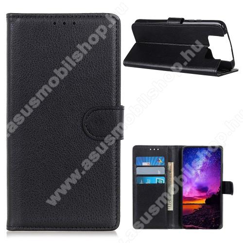 WALLET notesz tok / flip tok - FEKETE - asztali tartó funkciós, oldalra nyíló, rejtett mágneses záródás, bankkártyatartó zseb, szilikon belső - ASUS Zenfone 7 (ZS670KS) / ASUS Zenfone 7 Pro (ZS671KS)