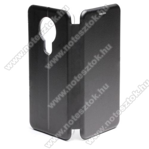 WALLET notesz tok / flip tok - FEKETE - asztali tartó funkciós, oldalra nyíló, rejtett mágneses záródás, bankkártyatartó zseb, szilikon belső - NOKIA 5.3