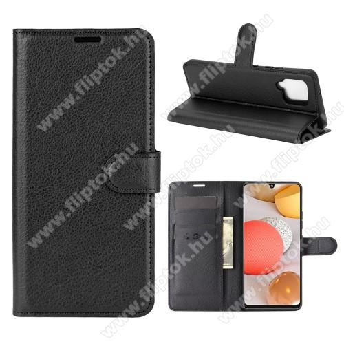 WALLET notesz tok / flip tok - FEKETE - asztali tartó funkciós, oldalra nyíló, rejtett mágneses záródás, bankkártyatartó zseb, szilikon belső - SAMSUNG Galaxy A42 5G (SM-A425F)