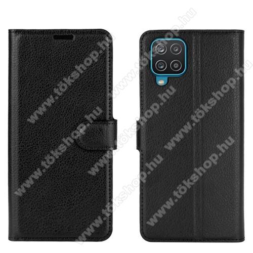 WALLET notesz tok / flip tok - FEKETE - asztali tartó funkciós, oldalra nyíló, rejtett mágneses záródás, bankkártyatartó zseb, szilikon belső - SAMSUNG Galaxy A12 (SM-A125F)