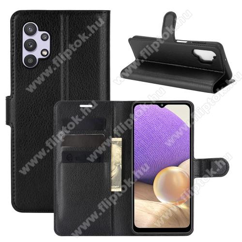 WALLET notesz tok / flip tok - FEKETE - asztali tartó funkciós, oldalra nyíló, rejtett mágneses záródás, bankkártyatartó zseb, szilikon belső - SAMSUNG Galaxy A32 5G (SM-A326B)