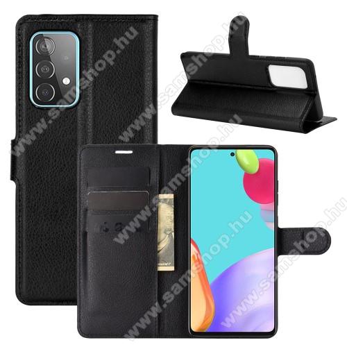 WALLET notesz tok / flip tok - FEKETE - asztali tartó funkciós, oldalra nyíló, rejtett mágneses záródás, bankkártyatartó zseb, szilikon belső - SAMSUNG Galaxy A52 5G (SM-A526F) / Galaxy A52 4G (SM-A525F)
