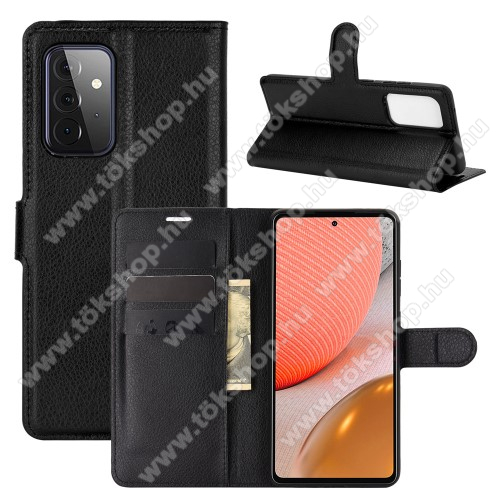 WALLET notesz tok / flip tok - FEKETE - asztali tartó funkciós, oldalra nyíló, rejtett mágneses záródás, bankkártyatartó zseb, szilikon belső - SAMSUNG Galaxy A72 5G (SM-A726F) / Galaxy A72 4G (SM-A725F)