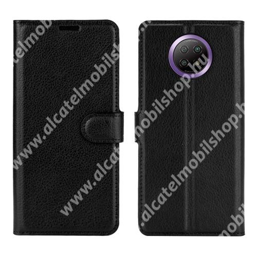 WALLET notesz tok / flip tok - FEKETE - asztali tartó funkciós, oldalra nyíló, rejtett mágneses záródás, bankkártyatartó zseb, szilikon belső - Xiaomi Redmi Note 9T 5G / Redmi Note 9 5G