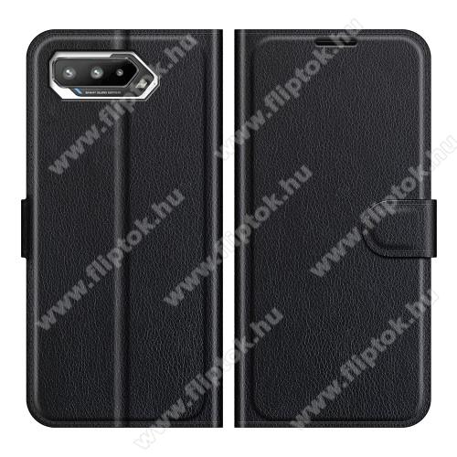 WALLET notesz tok / flip tok - FEKETE - asztali tartó funkciós, oldalra nyíló, rejtett mágneses záródás, bankkártyatartó zseb, szilikon belső - ASUS ROG Phone 5 / ROG Phone 5 Pro / ROG Phone 5 Ultimate