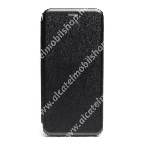 WALLET notesz tok / flip tok - FEKETE - asztali tartó funkciós, oldalra nyíló, rejtett mágneses záródás, bankkártyatartó zseb, szilikon belső - Xiaomi Redmi Note 10 5G / Redmi Note 10T 5G / Poco M3 Pro 5G