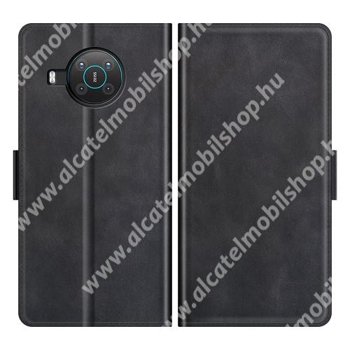 WALLET notesz tok / flip tok - FEKETE - asztali tartó funkciós, oldalra nyíló, rejtett mágneses záródás, bankkártyatartó zseb, szilikon belső - NOKIA X10 / NOKIA X20