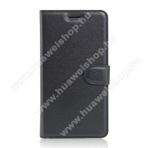 WALLET notesz tok / flip tok - FEKETE - asztali tartó funkciós, oldalra nyíló, rejtett mágneses záródás, bankkártyatartó zseb, szilikon belső - HUAWEI P9 Plus