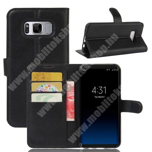 WALLET notesz tok / flip tok - FEKETE - asztali tartó funkciós, oldalra nyíló, rejtett mágneses záródás, bankkártyatartó zseb, szilikon belső - SAMSUNG SM-G955 Galaxy S8 Plus