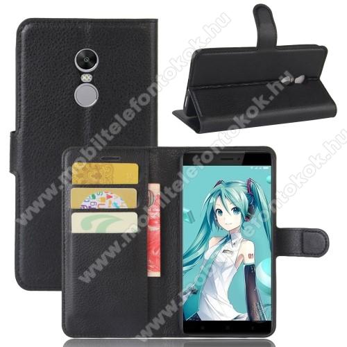 WALLET notesz tok / flip tok - FEKETE - asztali tartó funkciós, oldalra nyíló, rejtett mágneses záródás, bankkártyatartó zseb, szilikon belső - Xiaomi Redmi Note 4X (Global version)