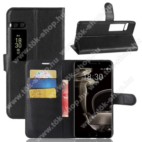 WALLET notesz tok / flip tok - FEKETE - asztali tartó funkciós, oldalra nyíló, rejtett mágneses záródás, bankkártyatartó zseb, szilikon belső - MEIZU Pro 7 Plus